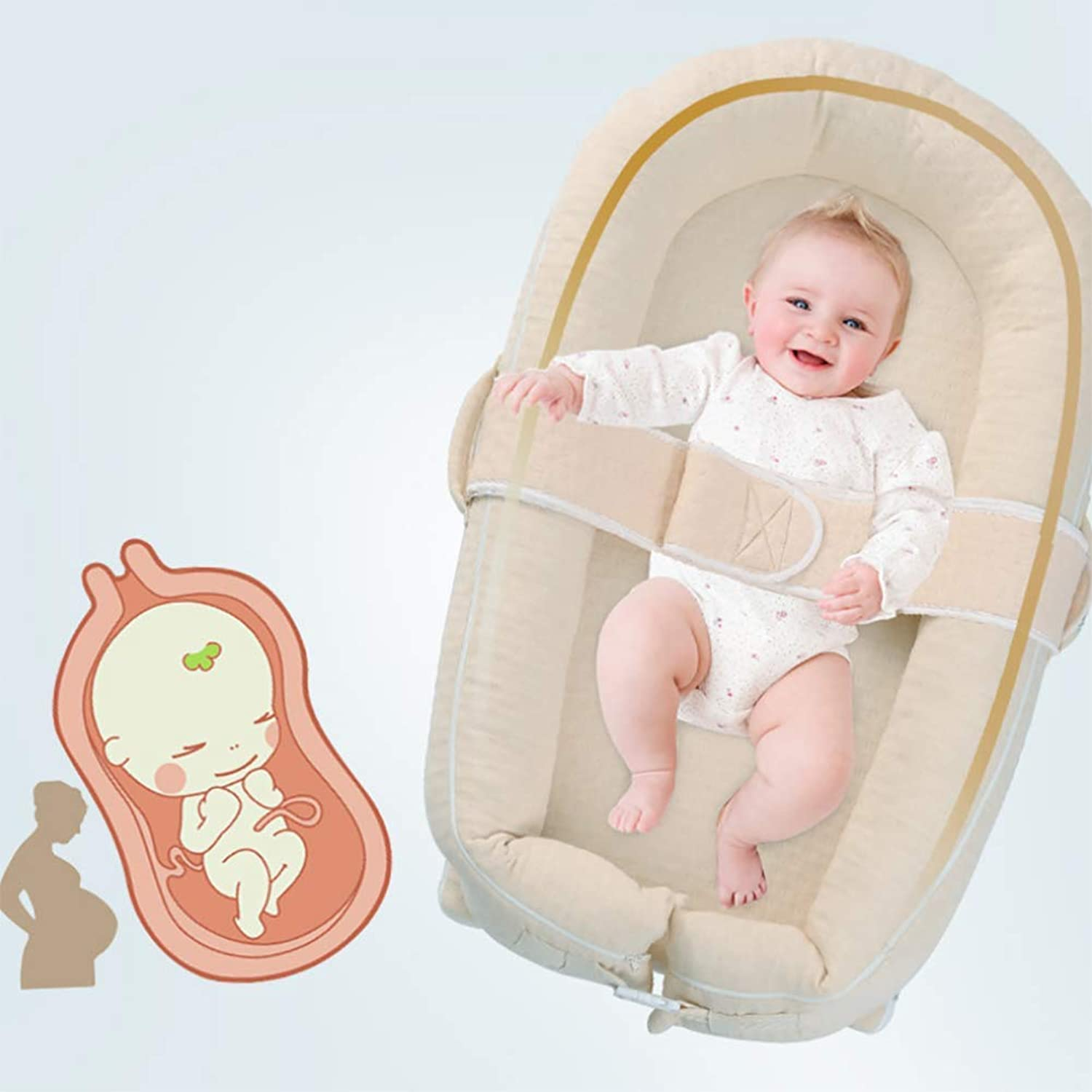 Bionic Baby Bed Natural colord Cotton Baby Bed Sleeping Pad Portable Crib for 0-24 Month Baby