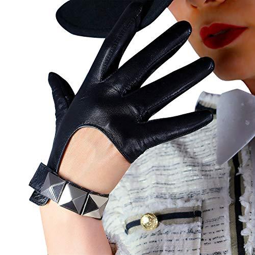 DooWay Damen Sexy Lederhandschuhe Touchscreen Texting Echtes Schaffell Cosplay Kostüm Fahren Motorrad Vollfinger Handschuhe - - Mittel