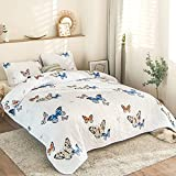 Quilt Set King Size Blue Butterfly Bedspread Coverlet Butterfly Quilted Bedspread Lightweight Reversible Design Washed Microfiber Bedspread for All Seasons (King, Blue Butterfly)