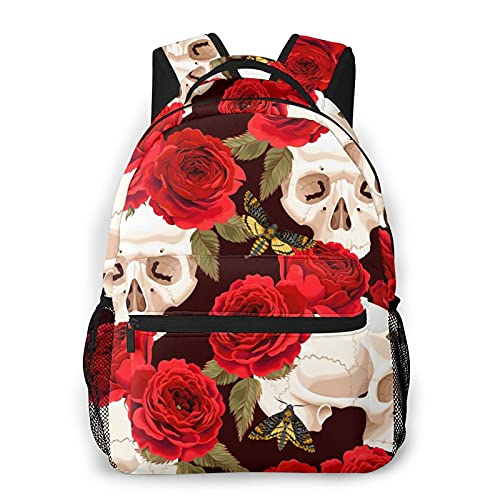 Mochilas escolares para niñas cráneos rosa patrón casual bolsa de hombro bolsa ligera mochila, Skulls Rose Butterfly, Talla única