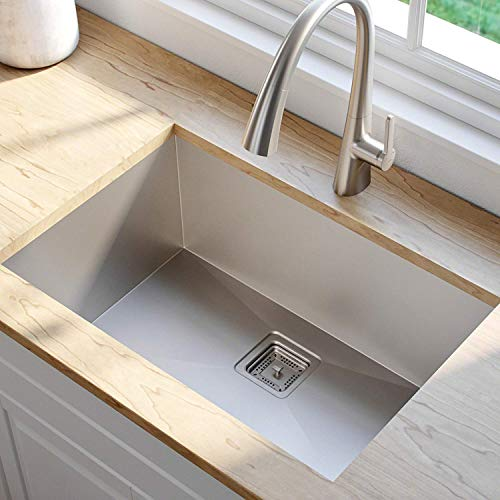 ZESTA Imported Garnet Series Hand Made, Satin Finish 304 Grade Stainless Steel Kitchen Sink with Coupling and Fruit Basket (24X18X10 Inch, Silver)