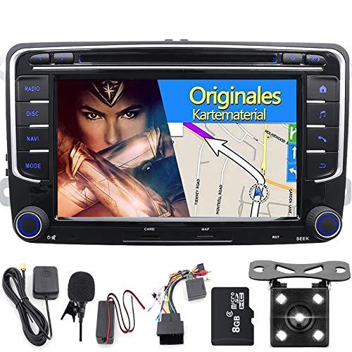 """FOIIOE Autoradio stereo con touchscreen da 7"""" / 17,8 cm HD WinCE 6.0, con lettore DVD, navigazione GPS, Bluetooth, DAB+, SWC, USB SD RDS CANUBUS radio satellitare per VW"""