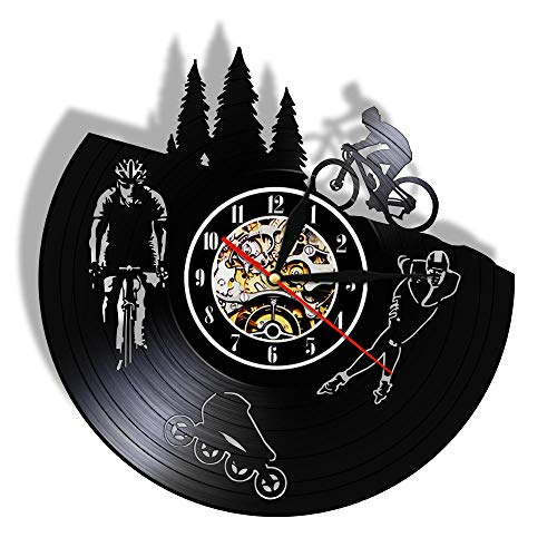 rrff Reloj de pared silencioso para bicicleta, diseño vintage, con diseño de patinaje