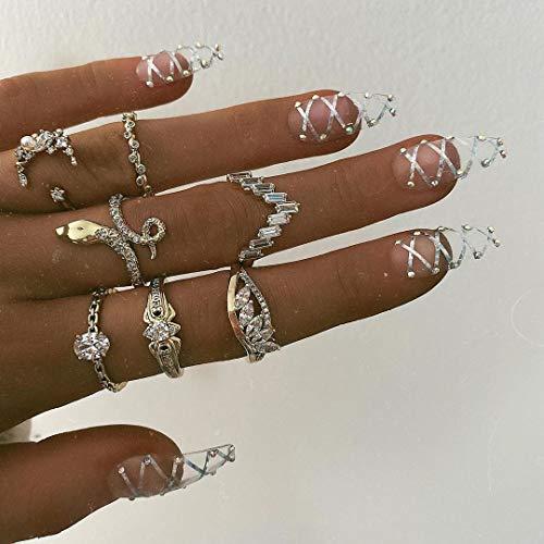 Edary - Set di 7 anelli a forma di serpente vintage a forma di serpente e luna, impilabili, per donne e ragazze
