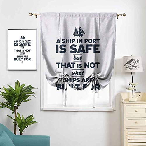 Dasnh 100% Polyester Roman Curtain Nautical Inspirations Ship and Anchor W36 x L72 Adjustable Curtain for Small Window