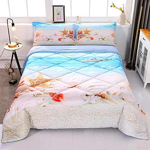Wowelife Coastal Comforter Sets Twin 3D Beach Seashell Bedding Blue 5 Piece with Comforter, Flat Sheet, Fitted Sheet and 2 Pillow Cases
