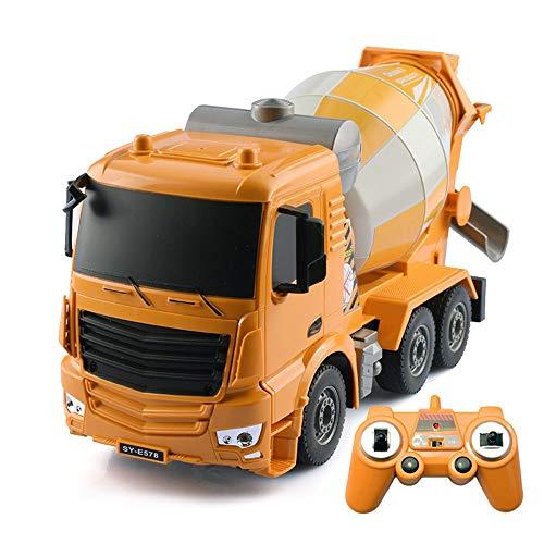 Moerc Mezclador RC Camión 1/26 Control remoto Camión de ingeniería Concreto Cemento Mezclador de cemento 2.4GHz 8 canales Vehículos de construcción de RC RC para niños Regalos de cumpleaños de Navidad
