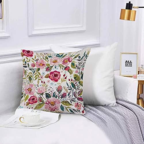 Lilatomer Funda de algodón 45 x 45 cm Floral Shabby Chic Flores Rosas Pedales Puntos Hojas Brotes Temporada de Primavera Tema Sofá Throw Cojín Almohada Caso de la Cubierta para Sala de Estar 45x45cm