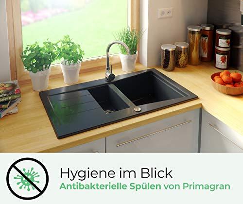 Granitspüle mit Siphon Madrid Einbauspüle Spülbecken Schwarz Küchenspüle Unterschrank Küche ab 60cm Spüle aus Granit mit Ablaufgarnitur Drehexcenter und Überlauf von Primagran