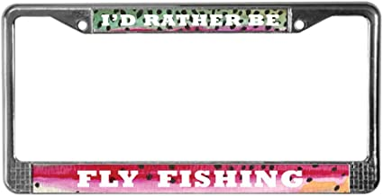 CafePress Rainbow Trout Fly Fishing Chrome License Plate Frame, License Tag Holder