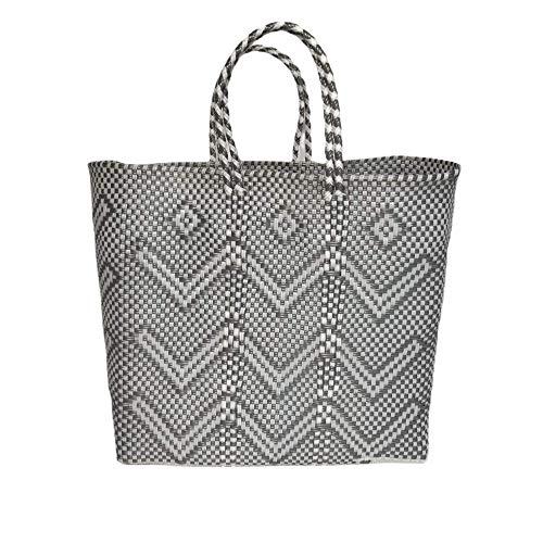 Bolso de playa Mexico - Bolso para playa gris y blanco -Otomi Mexico Bolsa - Bolsa de la compra - Bolsa de Plástico reciclado - 33 x 31 x 11 cm