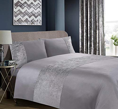 Hachette Lancaster Crushed Velvet Duvet Cover Bedding Bed Set with Pillowcases (Grey Silver, Double)