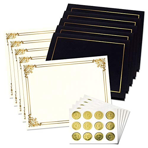 Ornate Empire Award Certificate Collection - Includes 25 Certificate Papers (White/Gold), 25 Heavy Linen Folders (Black/Gold), 25 Gold Foil Seals, Laser & Inkjet Printer Compatible