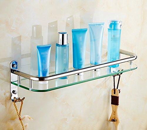 Bathroom Rack YSJ Salle de Bains Verre rectangulaire étagère Murale Verre trempé Extra épais, Section Lumineuse (Taille : 61 * 13.5 * 13.5cm)