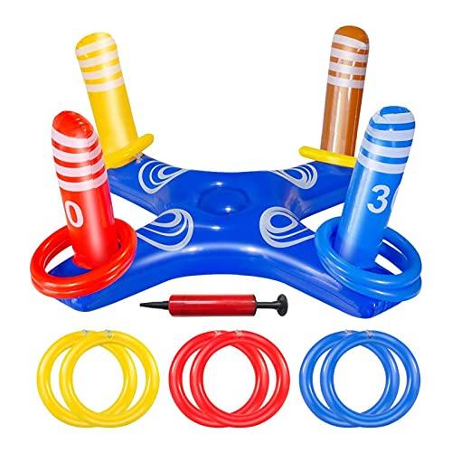 richao Juego de piscina inflable con anillo cruzado, para piscina y agua, para 2-3 personas, para niños y adultos, para la familia multijugador, playa, familia, interior y exterior