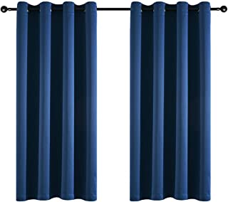 Taisier Home Navy Blue Soild Blackout Curtains 63 Inches Long for Bedroom,Energy Saving Thermal Insulated Solid Grommet Blackout Drapes(Set of 2 Panels,52 x 63)