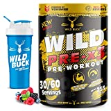 WILD BUCK Wild Pre-X3 Hardcore Pre-Workout Supplement with Creatine Monohydrate, Arginine AAKG, Beta-Alanine