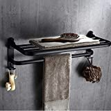 Toallero negro, espacio de aluminio, elegante toallero negro, accesorios de...