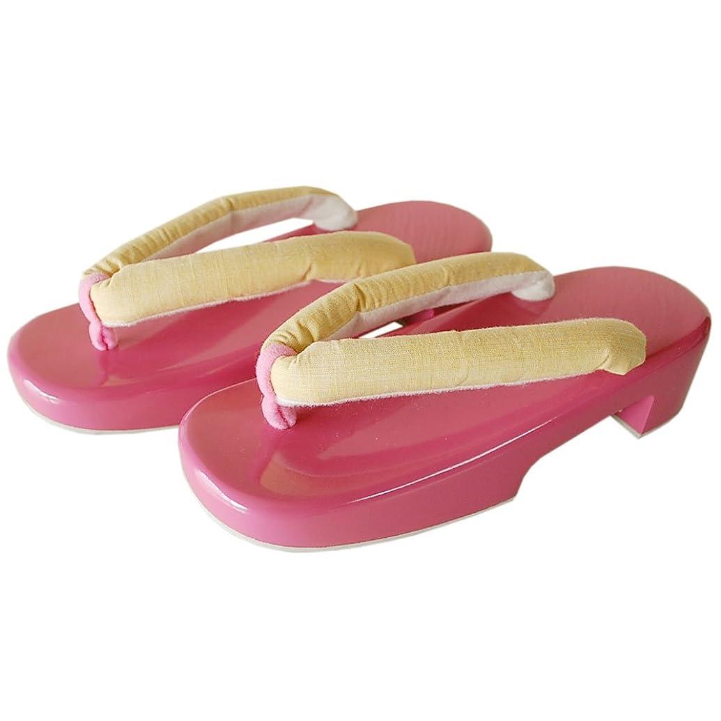 ヘルシーマグ期限女性用下駄 面取りカラー下駄 全長約24cm(適応サイズ23.0~24.5cm程度) ピンク桐下駄