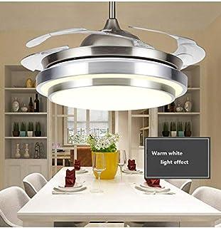 WUPYI2018 Ventilador de techo con iluminación y mando a distancia, 42 pulgadas LED Fan Luz Industrial Retro lámpara, 4 alas retráctiles ventilador de techo para dormitorio, salón, comedor