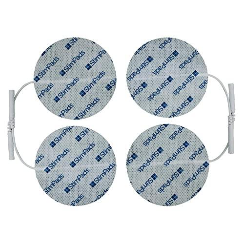 StimPads, redondos 70mm, Pack de 4 unidades de alto rendimiento, electrodos TENS - EMS de larga duración con conector universal tipo pin de 2mm