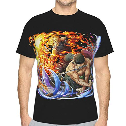 FXNOW Mens Anime Shirt Roronoa Zoro Sanji O-N-E-Piece Short Sleeve T-Shirt Black