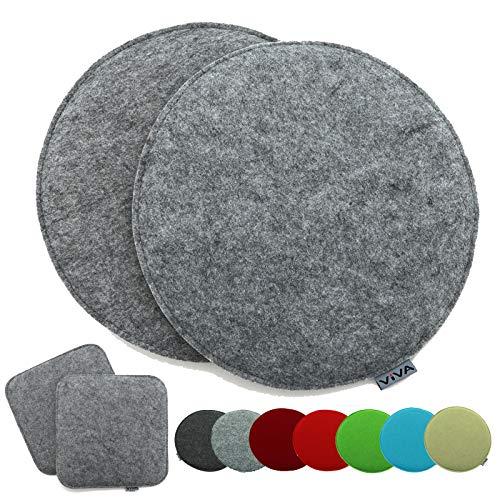 heimtexland ® 2er Pack Sitzkissen Filz Rund 35 cm Grau Filzkissen Stuhlkissen Polster Auflage Kissen Typ631