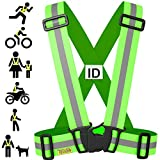 Tuvizo Reflective Vest for Running or Cycling - Comfortable Reflective Gear for High Visibility and Safety - Yellow S| M | L