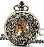 Infinite U Retro Hueco Mariposa Grabado Colgante Collar Reloj de Bolsillo Mecánico Cuerda Manual -Bronce