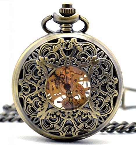 Infinite U Retro Hueco Mariposa Grabado Colgante Collar Reloj de Bolsillo Mecánico Cuerda Manual