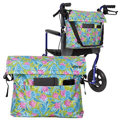 Vive Wheelchair Bag - Wheel Chair Storage Tote Accessory for Carrying Loose Items and Accessories - Travel Messenger Backpack for Men, Women, Handicap, Elderly - Accessible Pouch and Pockets
