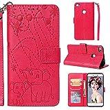 YKTO Flexible Funda para Huawei P8 Lite 2017/P9 Lite 2017/Honor 8 Lite/Nova Lite/Huawei GR3 2017 5.2' Auténtica Premium Tipo Libro Piel Rojo Case Carcasa Plegable Cartera Protectora Cover