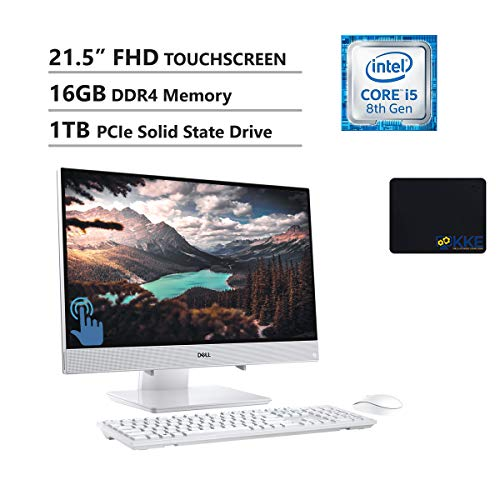 """Dell Inspiron 22 All-in-One Desktop 21.5"""" FHD IPS Touch Display, Intel i5-8265U, 16GB Memory, 1TB PCIe Solid State Drive, WiFi, HDMI, Webcam, KKE Mousepad, Wireless Keyboard&Mouse, Win10"""