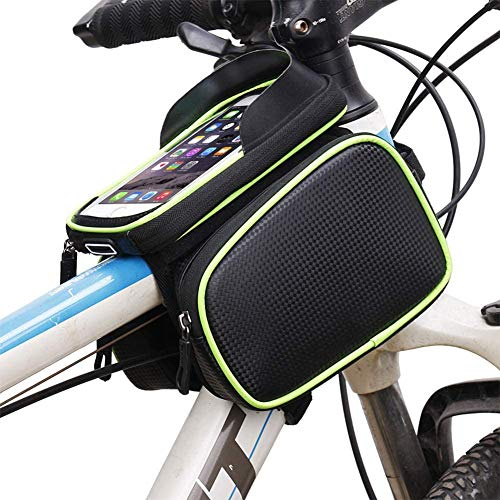 MTB Bolsas para el Manillar con Visera Bolsa Bici Soporte para Telefono Móvil Impermeable Pantalla Táctil Bolsa Táctil de Tubo Superior Delantero Bolsas de Bicicleta Herramienta ( Color : Green )