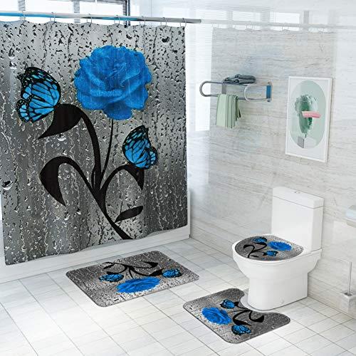 Bullpiano 4Pcs Rose Duschvorhang Set mit rutschfesten Teppichen Toilettendeckel und Badematte Valentinstag Blumen Bad Vorhang Wasserdichter Polyester Duschvorhang für Badewanne mit 12 Haken 72x72in