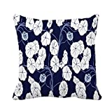 Throw Pillow Cover Navy Blue and White Floral Featuring Climbing Vine Plant 18x18 Inches Pillowcase Home Decorative Square Pillow Case Cushion Cover