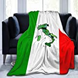 Flannel Fleece Luxury Throw Blanket, Map of Italy and Italian Flag Green White Red Stripes Blankets for Better Sleep Chair Decorative, Air Conditioning Blanket and Comfy Easy Care 60' x 50'