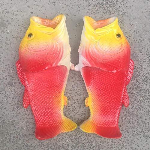 LINGZIA Zapatillas de baño Creativas Divertidas para Hombres, Mujeres, niños, Talla Grande 32-47 PVC 7.5 Rojo