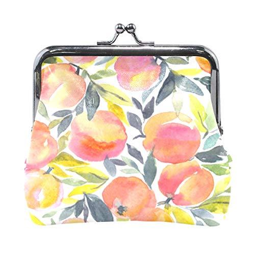 Stylische Geldbörse mit Obstmotiv, bunte Wasserfarben, Pfirsichfarben, Retro-Geldbeutel mit Kuss-Lock-Schnalle, Kartenhalter für Frauen und Mädchen