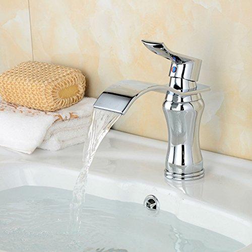 Water Tower - Grifo de latón macizo sin plomo y válvula de cerámica, grifo mezclador de cascada de cobre cromado para baño con grifo de agua caliente y fría