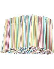 Sugrör plast flexibel, SUNJUY 1 000 st randiga flexibla sugrör plast dryckesmaterial för Party Bar drycker, 4 färger, 20 cm långa