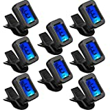 8 Packs Guitar Tuner Clip on Guitar Tuner for All Instruments Electric Guitar Tuner with Large Clear LCD Display for Ukulele, Guitar, Bass, Mandolin, Violin, Banjo, Chromatic Tuner
