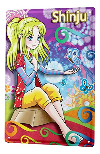 LEotiE SINCE 2004 Plaque en Métal Métallique Poster Mural tin Sign Décoration Drôle De Mur Dessin Animé Manga Japon Shinju Mur Metal Plates 20X30 cm