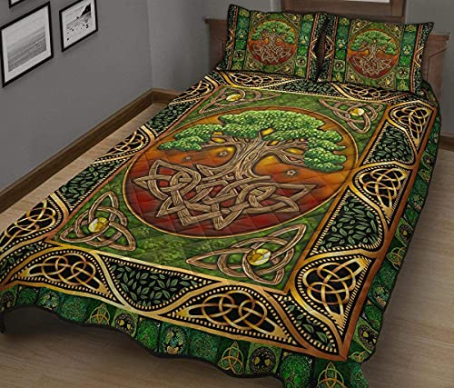 Gift for Family Celtic Quilt Bed Set Celtic Tree of Life Celtic Bedding Set 3 Pieces Quilt Cover with Pillowcase Cover Soft Comfortable for Kids Parents Us Throw Twin Queen King Size