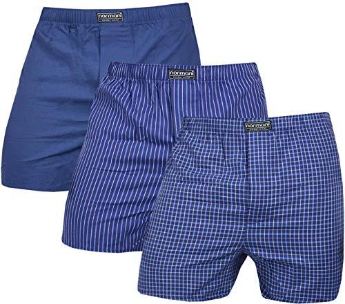 normani 3 x Herren Web Boxershorts aus Reiner Baumwolle Farbe Navy Größe M