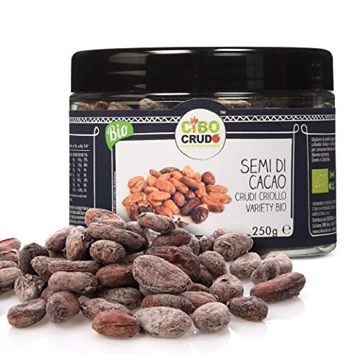CiboCrudo Semi di Cacao Biologici Crudi, Qualità Criollo – 250gr– Cacao Beans Criollo Variety Raw Organic, Fave di Cacao Bio, dalle Piantagioni del Perù, Etichette in Italiano