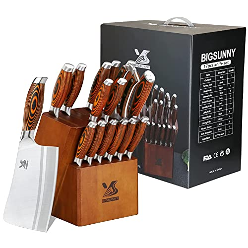 MSY BIGSUNNY Knife Block Set 17-piece Knife Set with Wooden Block - German Steel Perfect Cutlery Set Gift