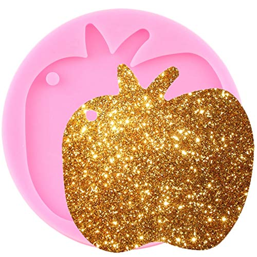 CSCZL Shiny Apple Silicone Keychains Mold Key Chain Pendant Clay DIY Jewelry Making Epoxy Resin Molds