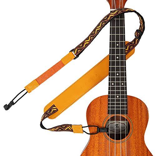 M33 Ukulele Strap Upgrade Multicolor Hawaiian Jacquard Woven, Double J Hooks Clip On Ukulele Belt, Easy To Use Fits Most Standard Uke Sizes (Yellow-red)
