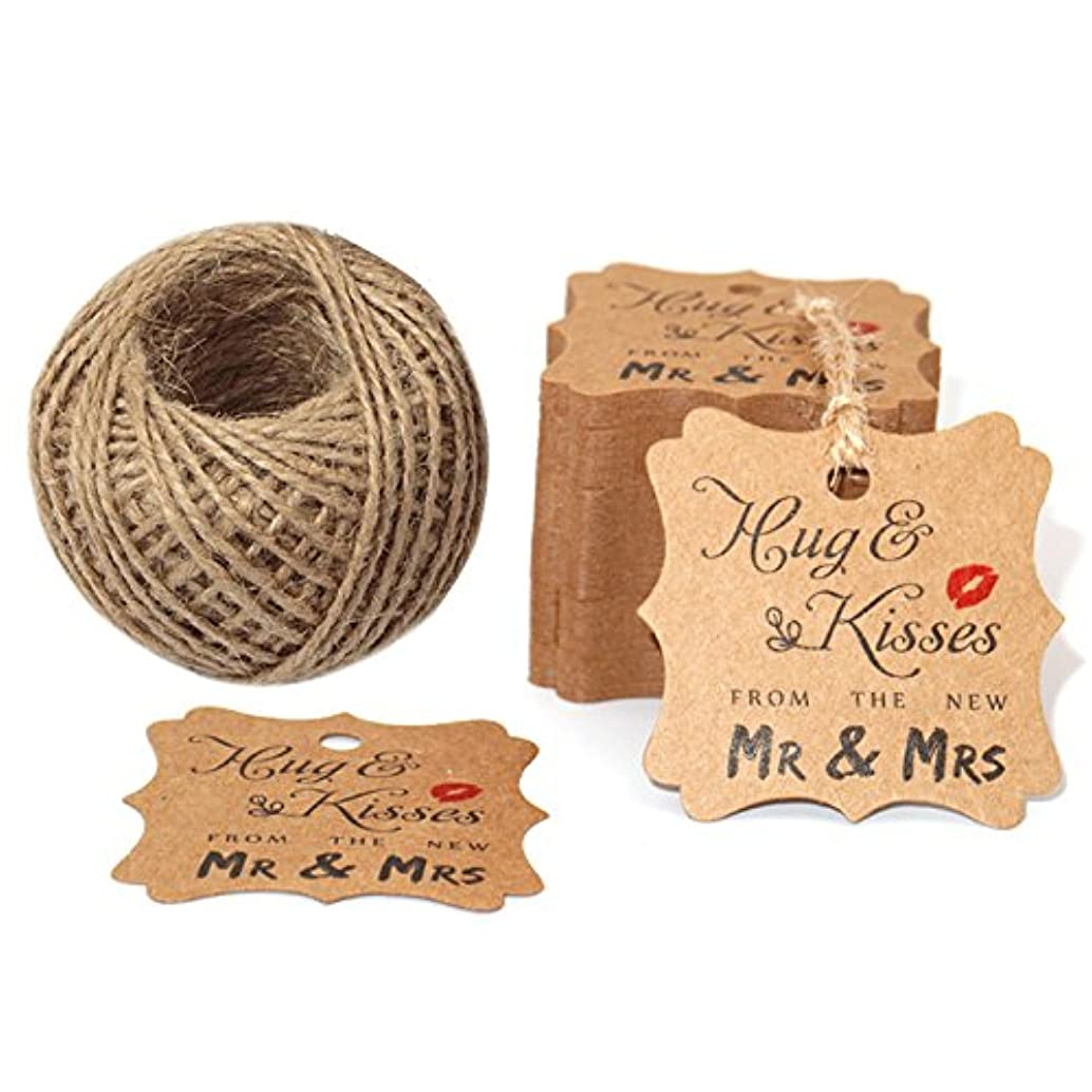 Original Design Wedding Favor Gift Tags, 100 PCS Brown Square Tags with 100 Feet Natural Jute Twine Perfect for Bridal Baby Shower Anniversary- Hug & Kisses from The New Mr & Mrs